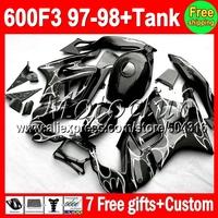 7gifts+Tank  For HONDA 97-98 CBR600F3 White flames CBR 600F3 97 98 MC691757 CBR600 F3 FS CBR 600 F3 Black 1997 1998 Fairings