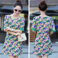 Summer dress 2014 new women chiffon dress plus size slim flower print dresses slim casual dress XXL