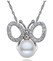 butterfly style 9-9.5mm freshwater pearls necklace pendant+925 pure silver chain Jewelry wholesale,Valentine's gift