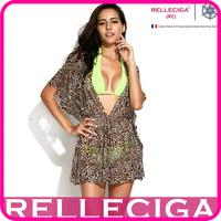 RELLECIGA 2014 Sexy Beachwear - Leopard Print Sheer Caftan with Drawstring at Waistline Bikini Beach Dress