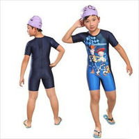 Retail Swimwear kids boy  2014 new style boy swimsuit one-piece cartoon sun protection surfing  swimwear Y007