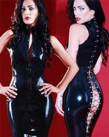 Sexy Leather Vintage Lingerie Black Catsuit Body Suit Faux Costume Vinyl Latex Dress For Women