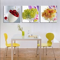 3 Panel Hot Sell Modern Wall Painting Home Decorative Art Picture Paint on Canvas Prints Fresh fruit, cherry, grape and peach