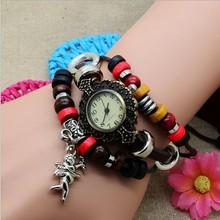 2014 New Brand Fashion Vintage Leather Quartz Watch Full of Beads Cupid Arrow Pendant Casual Dress