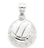 Free Shipping 12pcs a lot white color volleyball pendant charm jewelry