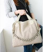 2013 Fashion PU Leather Weaving Handbag Korean style Lady Hobo PU leather bag Popular Shoulder Messenger Bags Wholesale Q046