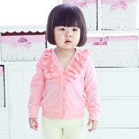 Female baby T-shirt long-sleeve cardigan baby clothing children's basic shirt sweet 100% cotton autumn and winter girls clothing