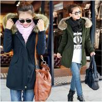 2013 wadded jacket female medium-long with a hood wool collar drawstring round the waist slim 100% cotton winter water wash
