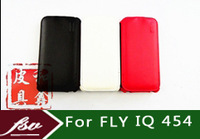 wholesale 10pcs/lot [( Factory outlets )] Open up and down Cover case for FLY IQ454 flip Real leather case + free shipping