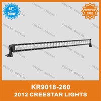 "50"" Single row led work light bar 260W 10W/PCS cree led work bar lights KR9018-260"