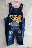 Children's clothing b2w2 spring child denim bib pants glasses