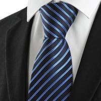Classic Striped Blue Black JACQUARD Men's Tie Necktie Formal Business Gift Microfiber man ties gravata cravat
