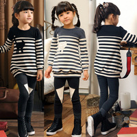 Newest 2014 spring fashion children's clothing set girls ostrich pattern black white striped casual suit kid's outfit 3 - 8 yr