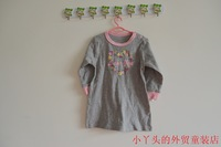 Grey pattern long sleeve length t-shirt