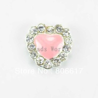 Free Shipping 20 Pcs Origami Owl Floating Charms for Living Locket Rhinestone Pink Enamel Love Heart 8mm Nail Art(W02967 X 1)