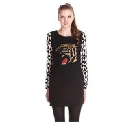2014 Retail Korean spring tiger head embroidery long sleeve women dress girl's print dresses S M L