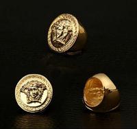 18K Gold Plated Medusa Ring For Men Hip Hop Rapper Jewelry