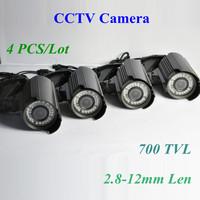"2014 brazil 4pcs/lot 700TVL 1/3"" Sony Effio-e CCD 2.8-12mm 42pcs IR Outdoor Nightvision 960H CCTV Security Camera Free Shipping"