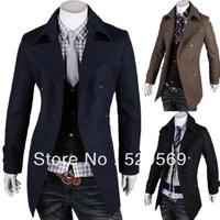 Free Shipping! New Korean Men Cultivating Concise Lapel Coat Fashion Boutique Gentleman Dust Coat  for Mens