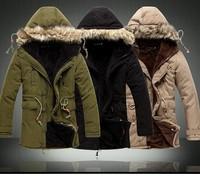 Fashion 2013 Men Winter Outdoors Medium-Long Fleece Jacket Thickening Fur Hooded Army Green Parka Coat Free Shipping