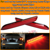 Red Lens Rear Bumper Reflectors LED as Tail/Brake Lights For Lexus IS-F GX470 RX300; Toyota Matrix Venza Avalon Sienna Base  LE