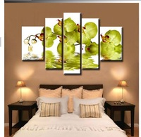 Green Color Orchid Modern Abstract Canvas Oil Painting Wall Art ,Home Decoration Arts JYJHS025