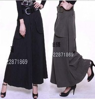 Free Shipping!Fashion women's plus size wide leg pants for Autumn and Winter,black/army green/coffee wholesale retail