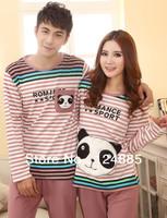 Autumn spring knitted cotton cartoon panda striped couple pajamas sleepwear female male long-sleeve lounge set housecoat 51235