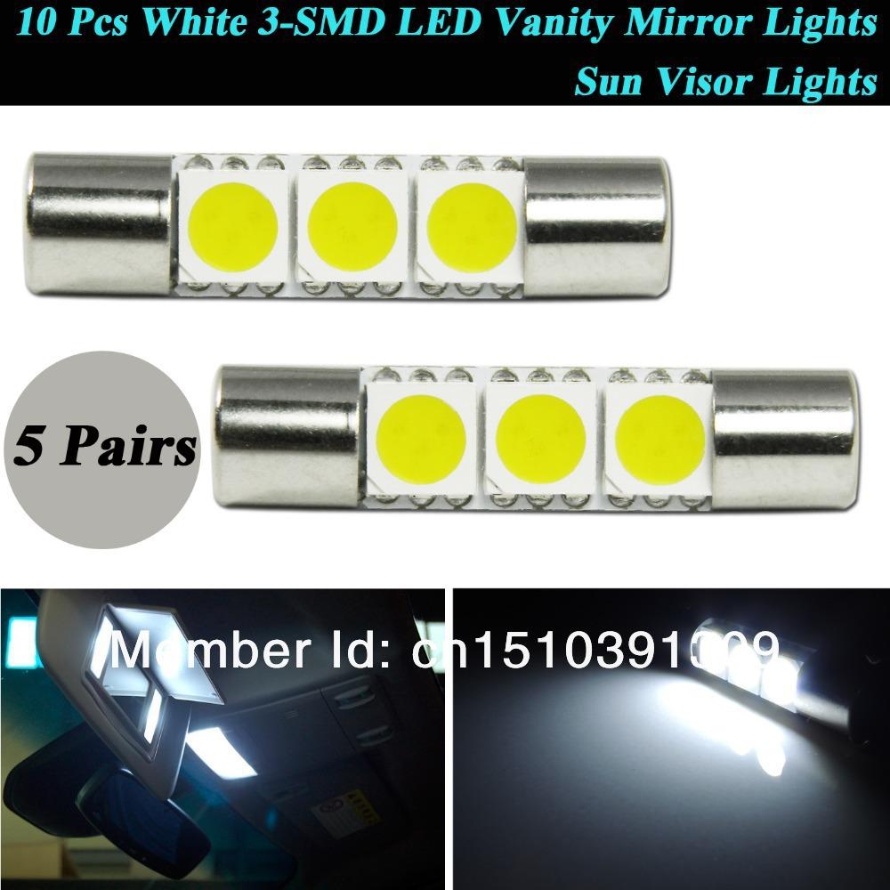 10pcs Xenon White D29mm 3-SMD 6641 TS-14V1CP Festoon LED Replacement Bulbs For Car Vehicle Vanity Mirror Lights Sun Visor Lights(China (Mainland))