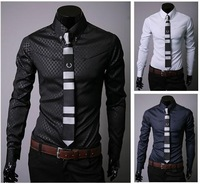Wholesale/Retail New Fashion Casual Mens' Long Sleeve Blouse Plus Size Turn-Down Collar Shirt 3ColorsM-XXL D0304