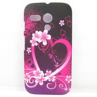 Pink Heart and Flower Hard Back Case Cover Skin For Motorola Moto G