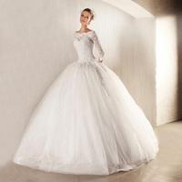 2014 new arrival winter fluffy wedding dress vintage slit neckline lace long-sleeve train wedding dress formal dress q78