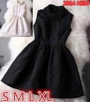 Dresses new fashion 2014 clothes woman dress spring fashion slim small waist one-piece casual dress  women sleeveless dress  hot