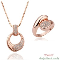 Top Quality Made With Swarovski Austrian Crystal Jewelry Set, Genuine 18K Rose Gold Plated Wedding Fashion Necklace Ring S126