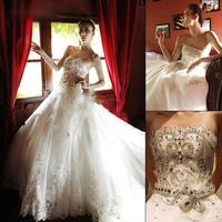 Bling diamond wedding dress big train wedding dress tube top big train wedding dress formal dress new arrival crystal 2014