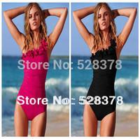 2014 new Sexy Bikini One Shoulder flower Swimwear One Piece Trigonometric Swimsuit Free shipping S-XXXL t010