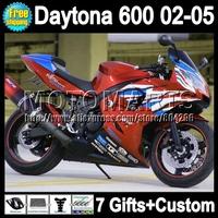 For Triumph Daytona 600 Full Fairing+7gift Orange black Triumph600 600 24Q186  02 03 04 05 2002 2003 Orange blue white 2004 2005