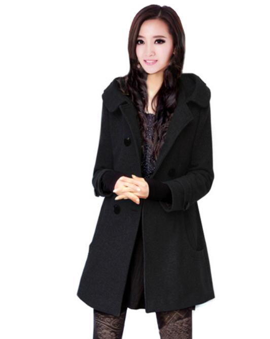Hooded pea coats for women