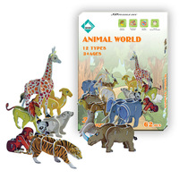 Animal-C12types/box) 3D PUZZLE