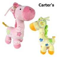 Cute Giraffe Baby Rattles & Mobiles baby cartoon animal plush toys Infant drawing music toy Hanging Bed free shipping