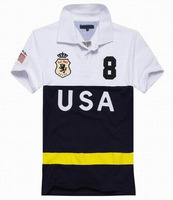 USA France Italy England Printed Stripe Cotton Shirts for Mens No.8 Slim Fit polo Shirt Free Shipping Drop Shipping