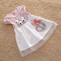 2014 new arrival palka dots summer girl dress pink baby girl dress 6 pcs/ lot free shipping.