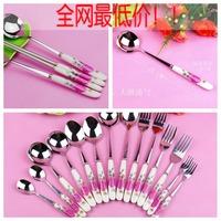 Tableware Ceramic & Stainless steel spoon, chopsticks & fork 3pcs set
