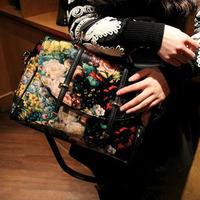 2014 New Hot  PromotionNew Bags Retro Canvas Shoulder Bag Double Arrow Handbags Oil Painting Package Belt Handbag Bag Wholesale