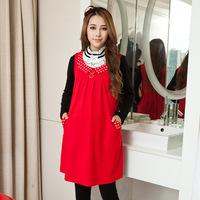 Autumn and winter double collar peter pan collar sleeveless tank dress pocket maternity yzy31268 one-piece dress