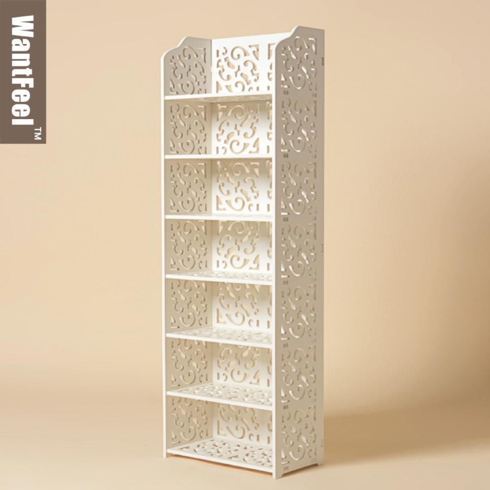 creative bookshelf rural flower of carve patterns woodwork shelf rack shoe rack, bathroom waterproof mouldproof(China (Mainland))