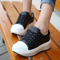 Trend women's autumn casual shoes leather girls sports single shoes platform elevator shoes fashion platform shoes black