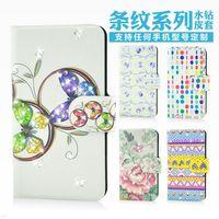 Wholesale,Shine colorful design Flower bling diamond leather flip case cover for LG G Pro Lite D684 D685 D686