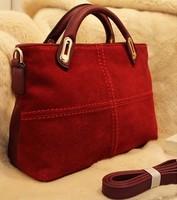 Locomotive line vintage messenger bag messenger bag handbag genuine leather scrub Wine red big bag women's handbag free shipping