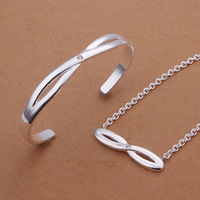 925 silver jewelry set,Nickle free antiallergic 8 shaped bangle necklace jewelry set